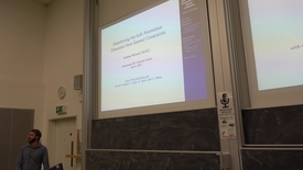 """Thumbnail for entry Amplitudes Summer School 2017: two talks - Andrew McLeod """"Determining the Soft Anomalous Dimension from General Constraints"""" and Theresa Abl """"Exploring Reggeon bound states in strongly coupled N=4 super Yang- Mills theory"""""""