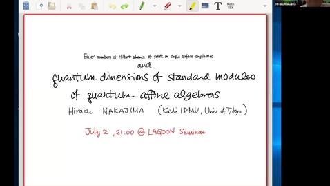 Thumbnail for entry LAGOON: Leicester Algebra and Geometry Open ONline - Hiraku Nakajima (Kavli IPMU, Tokyo, Japan)