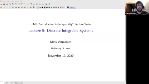 Thumbnail for entry Mats Vermeeren, (University of Leeds): Discrete integrable systems