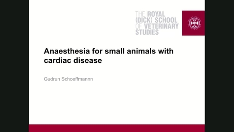 Thumbnail for entry Clinical Club Anaesthesia for animals with cardiovascular disease
