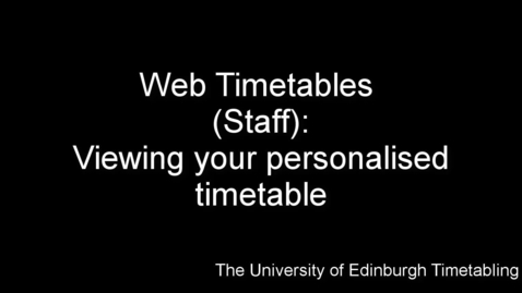 Thumbnail for entry Web Timetables (Staff)