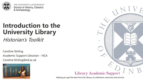 Thumbnail for entry Introduction to the University Library - Historian's Toolkit
