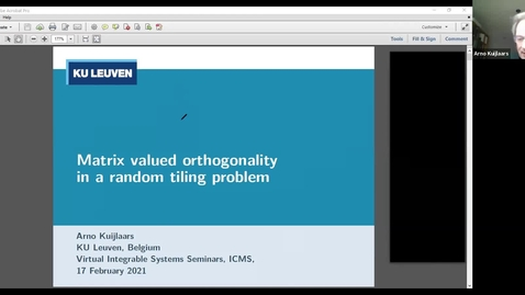 Thumbnail for entry Matrix valued orthogonality in a random tiling problem - Arno Kuijlaars