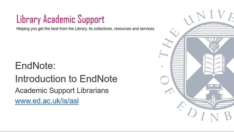 Thumbnail for entry Introduction to EndNote  20 (June 2021)
