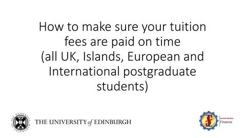 Thumbnail for entry (PG) How to Pay Postgraduate Tuition Fees and Related Costs