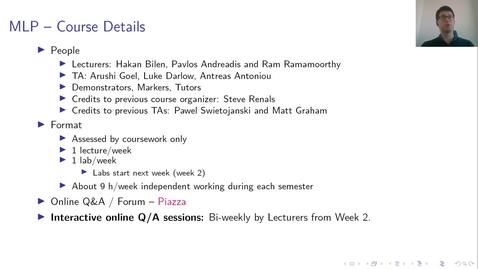 Thumbnail for entry MLP Lecture 01 - Clip 02 - Course Details
