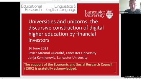 Thumbnail for entry Dr Janja Komljenovic and Javier Mármol Queraltó 'Universities and unicorns: the discursive construction of digital higher education by financial investors'