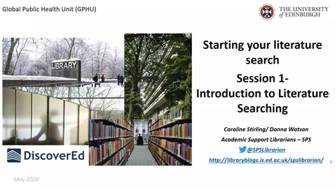 Thumbnail for entry GPHU Introduction to literature searching- session 1