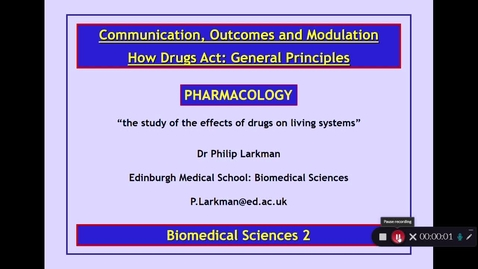 Thumbnail for entry BMS2: How Drugs Act Part 1 Dr Phil Larkman