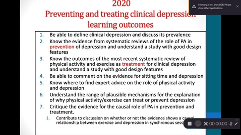 Thumbnail for entry Preventing and treating clinical depression with physical activity  - 1