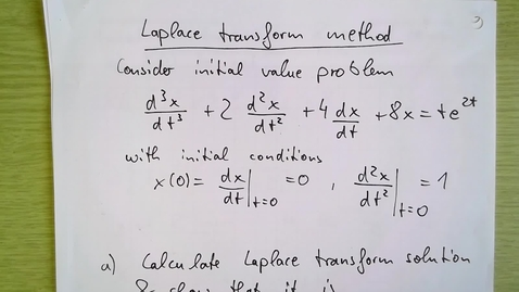 Thumbnail for entry Laplace transform Week 3 Example 1b: Stability of third order differential equation