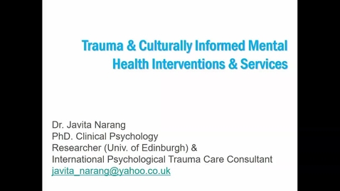 Thumbnail for entry In Conversation with Dr Javita Narang
