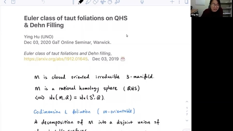 Thumbnail for entry Euler classes of taut foliations on Q-homology spheres and Dehn fillings - Ying Hu