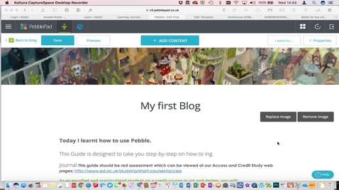 Thumbnail for entry 6. How to add and edit images in a Pebble Pad blog
