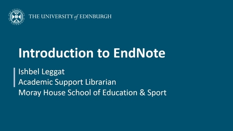 Thumbnail for entry Introduction to EndNote