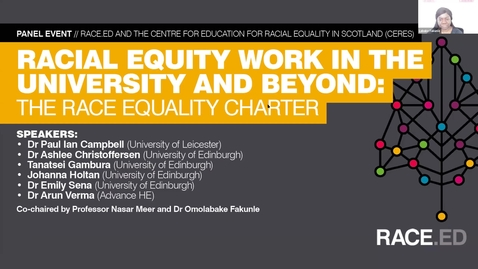Thumbnail for entry Racial Equity Work in the University and Beyond: The Race Equality Charter in Context