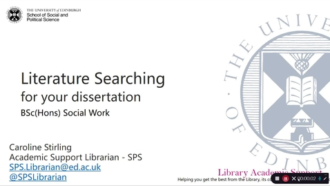 Thumbnail for entry Literature searching for your dissertation - BSc Social Work