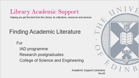 Thumbnail for entry IAD Finding Academic Literature - for CSE PGRs