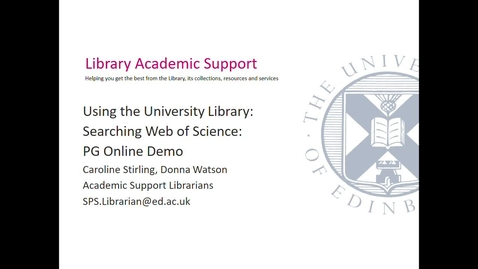 Thumbnail for entry Searching Web of Science (PG Online SPS) Sept 2020- Session 3