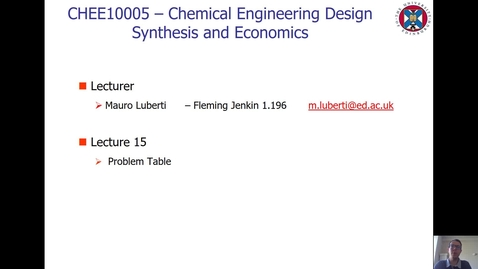 Thumbnail for entry Lecture 15 - Problem Table