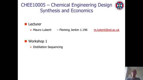 Thumbnail for entry Workshop 1 - Distillation Sequencing