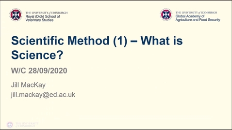 Thumbnail for entry Professional Skills for GAFS (1)- Week 2 - Scientific Method Part 1/2