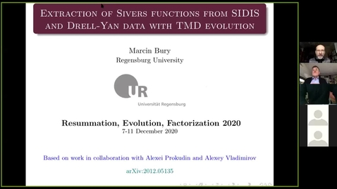 Thumbnail for entry REF2020: Marcin Bury- Extraction of Sivers functions from SIDIS and Drell-Yan data with TMD evolutioF