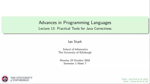 Thumbnail for entry Lecture 13: Practical Tools for Java Correctness