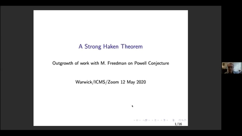 Thumbnail for entry A strong Haken's theorem - Martin Scharlemann