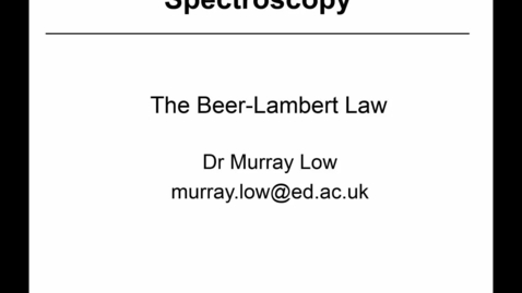 Thumbnail for entry 15 - Beer-Lambert Law