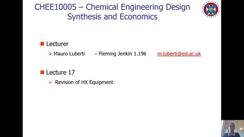 Thumbnail for entry Lecture 17 - Revision of HX Equipment