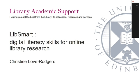 Thumbnail for entry LibSmart : digital literacy skills for online library research