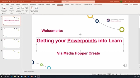 Thumbnail for entry Powerpoint to Learn workflow - via Media Hopper Create for Captioning