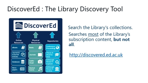 Thumbnail for entry How to find online library collections for your studies using DiscoverEd