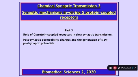 Thumbnail for entry BMS2: Chemical Synaptic Transmission 3 Part 3 Dr Phil Larkman