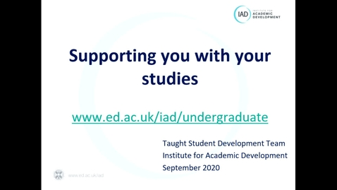 Thumbnail for entry Supporting you with your studies