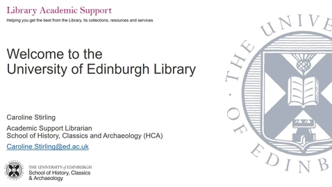 Thumbnail for entry Introduction to the University Library (HCA postgraduates)