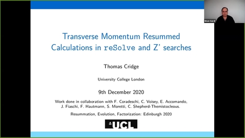Thumbnail for entry REF2020: Thomas Cridge- Transverse Momentum Resummed Calculations in reSolve and Z' searches