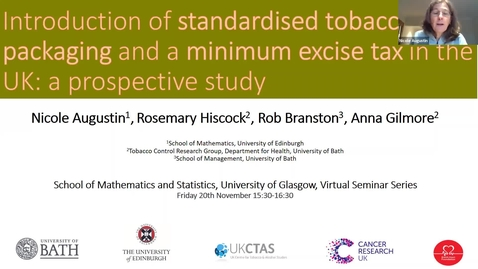 Thumbnail for entry Nicole Augustin and Rosemary Hiscock - Introduction of standardised tobacco packaging and minimum excise tax in the UK: a prospective study