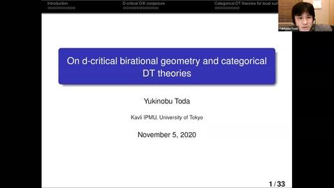 Thumbnail for entry LAGOON: Leicester Algebra and Geometry Open ONline - Yukinobu Toda (Kavli IPMU, Tokyo, Japan)