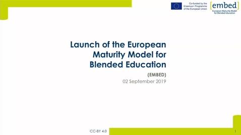 Thumbnail for entry Launching the European Maturity Model for Blended Education (EMBED) 1 - Framing Blended learning, teaching, and education, Stephan Poelmans, KU Leuven