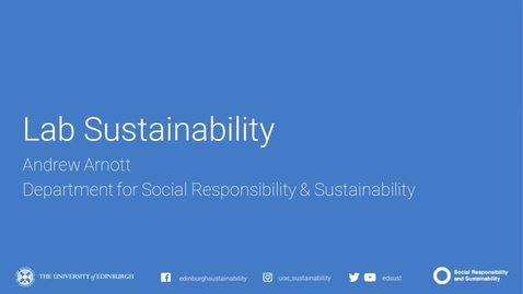 Thumbnail for entry Sustainable Labs Webinar - Department of Social Responsibility and Sustainability - April 2020