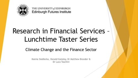 Thumbnail for entry Research in Financial Services - Climate Change and the Finance Sector