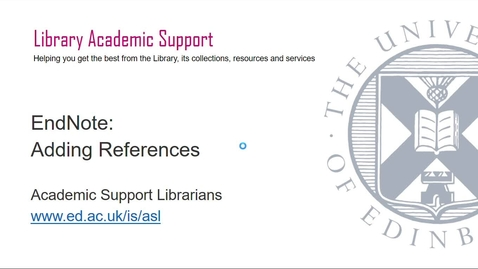 Thumbnail for entry Adding references to EndNote (June 2021)