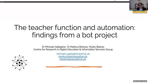 Thumbnail for entry DE Seminar: 'Reconceptualising the teacher function through automation'