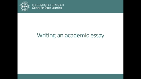 Thumbnail for entry Writing an Academic Essay