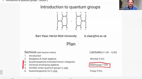 Thumbnail for entry Bart Vlaar: Introduction to quantum groups
