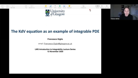 Thumbnail for entry Francesco Giglio (University of Glasgow)  Title:The KdV equation as an example of integrable PDE.