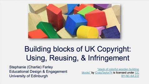 Thumbnail for entry Building blocks of UK Copyright: Using, Resuing, & Infringement