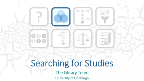 Thumbnail for entry Searching for Studies - The Library Team